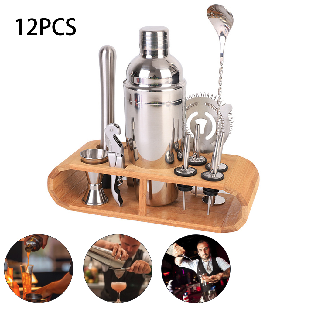 12Pcs/Set Cocktail Shaker Mixer Bartender Kit with Stylish Wooden Stand 750ML Stainless Steel Bartending Kit for Home Bar Party Bar Sets     - title=