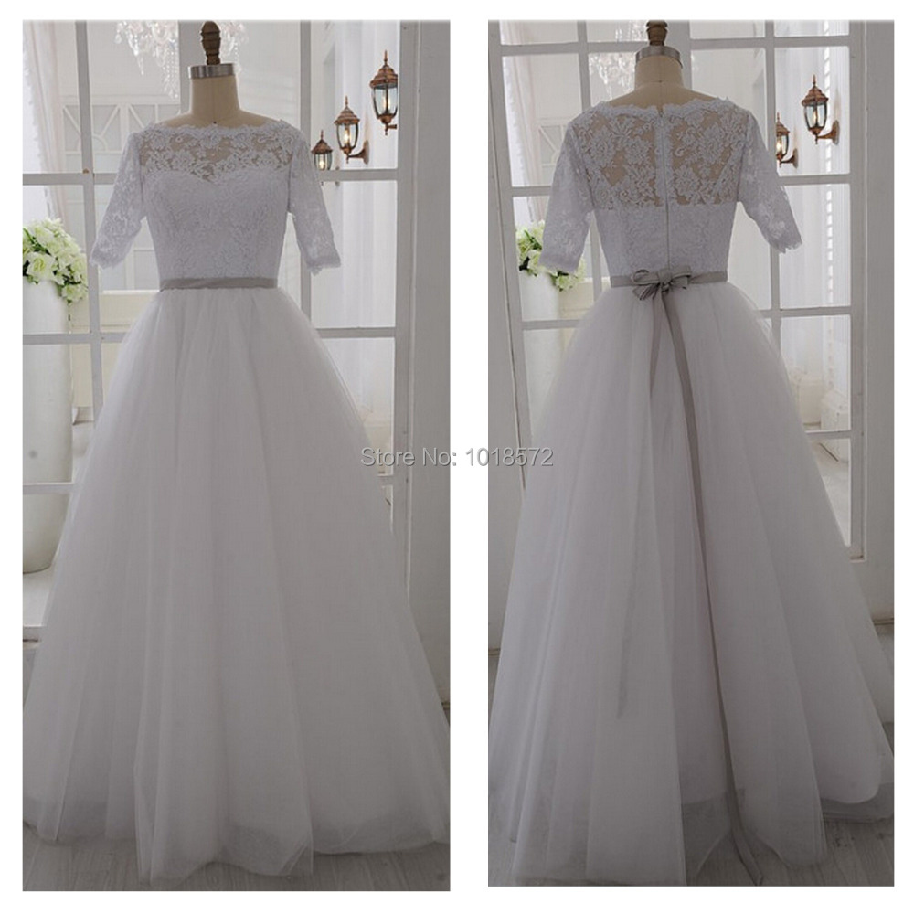 Elegant Real Wedding Dresses Half Sleeves Vintage Inspired Lace Vestido De Noiva Romantic Princess Formal Dress Bridal Gown