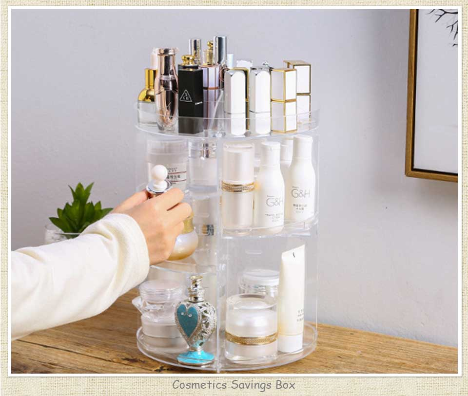 Fashion 360 Degree Rotating Makeup Organizer For Cosmetics Storage Box Plastic Clear AcrylicTransparent Box Jewelry Necklace (1)