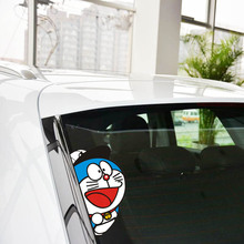 Aliauto Cartoon Car Sticker and Decal Doraemon Peeping Funny Accessories for Ford Focus Volkswagen Skoda Polo