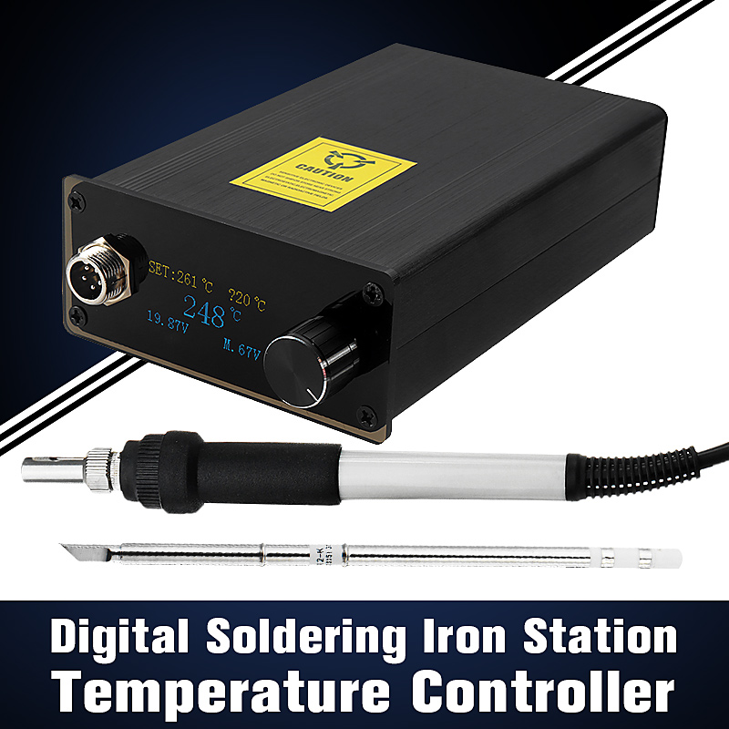 Digital Soldering Iron Station Welding Solder Temperature Controller AC 220V 72W With EU Plug + T12 Handle + T12-K Tip New soldering iron station temperature controller handle stand for hakko t12