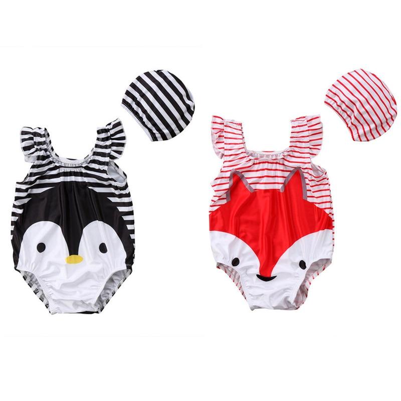 2018 Fox&Penguin One Piece Swimsuit Kids Girls Cartoon Fancy Swimsuit Bikini Bathing Suit Swimsuit Swimwear+ Swimming Hat 2-7T