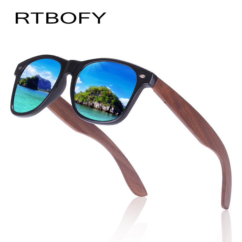 04aac36c9854 RTBOFY Polarized Wood Sunglasses for Men and Women Walnut Wood Legs with PC  Frame Vintage Design Travel Fishing Hiking Shades-in Sunglasses from  Women's ...