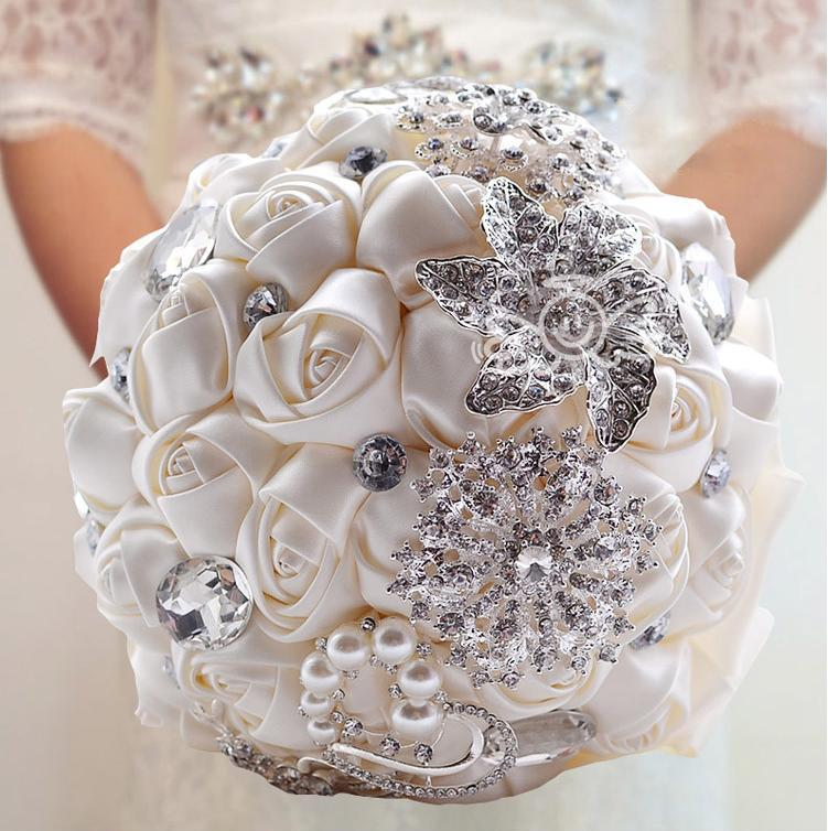 Wedding Bouquet Crystal Flowers: Luxury Romantic Pristian Zouboutin Rhinestone Diamond