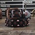 2015 Denim remache incrustación de cuero correa de cuero genuino de las mujeres correa de cuero genuina pantalones vaqueros de moda del todo-fósforo correa de la decoración