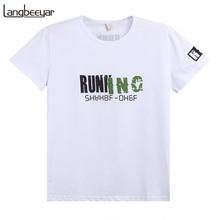 2017 sommer Neue Modemarke Männer Kleidung T-shirt Brief Drucken Slim Fit Kurzarm T-shirt Männer Beiläufiger Mens T Shirts M-5XL