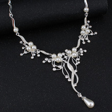Pearls Bridal Jewelry sets for Women Silver Color Rhinestone Necklace earring Sets Wedding Jewelry