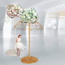Nowy kutego żelaza wystrój ślub parasol kwiat Ware kreatywny DIY złota i biały kompozycja kwiatowa rekwizyty dekoracji domu tanie tanio Metal