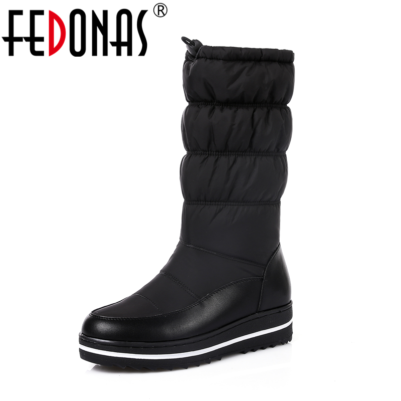 FEDONAS New Genuine Leather Snow Boots Women Thick Fur Warm Down Mid Calf Winter Boots Round Toe Platform Shoes Woman Black 2018 new vintage mid calf women boots square thick high heels pointed toe martin boots genuine leather winter shoes for women