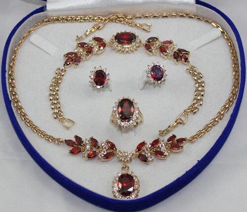 fine jaewler red purple zircon beaded flower necklace bracelet earring ring setfine jaewler red purple zircon beaded flower necklace bracelet earring ring set