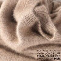 Акция продаж Новинка зимы бренд для мужчин с круглым вырезом 100 норки кашемировый свитер Половина Водолазка пуловер человек Рождество masculina