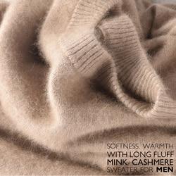 Распродажа, Зимний новый брендовый мужской свитер с высоким круглым вырезом, 100 норковый кашемировый свитер, пуловер с высоким воротником, м...