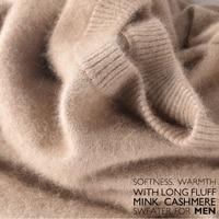 Sales Promotion Winter New Brand Men's High O Neck 100 Mink Cashmere Sweater Half Turtleneck Pullover man christmas masculina