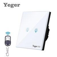 Yeger EU UK Standard Telecomando Interruttore 2 Gang 1 Way Muro Di Tocco Interruttore Bianco Cristallo