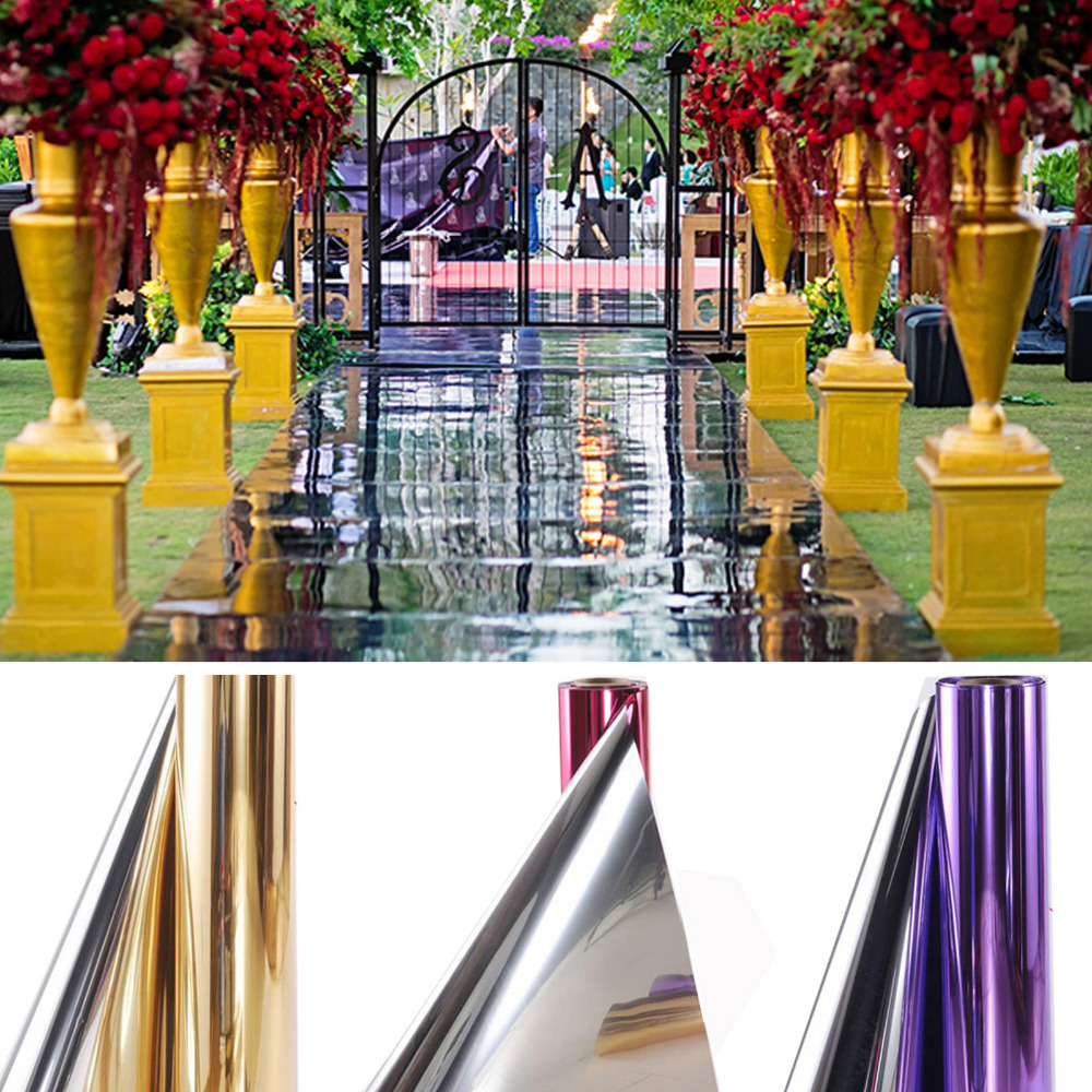 Shiny 1.2M x 20 Meter  Mirror carpet or T-stage Aisle Runner For Wedding Party Decoration wallet