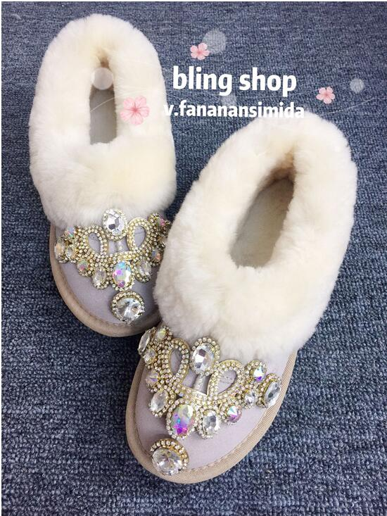 Hand-studded snow boots womens winter new flat boots shorts leather fur one warm non-slip plus velvet peas shoes Hand-studded snow boots womens winter new flat boots shorts leather fur one warm non-slip plus velvet peas shoes