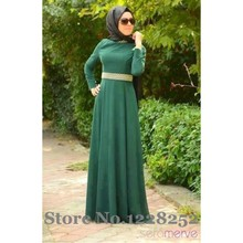 2016 Arabic Evening Dresses Long Sleeves Green Chiffon A line Floor Length Abaya Muslim Evening Dress with Gold Belt