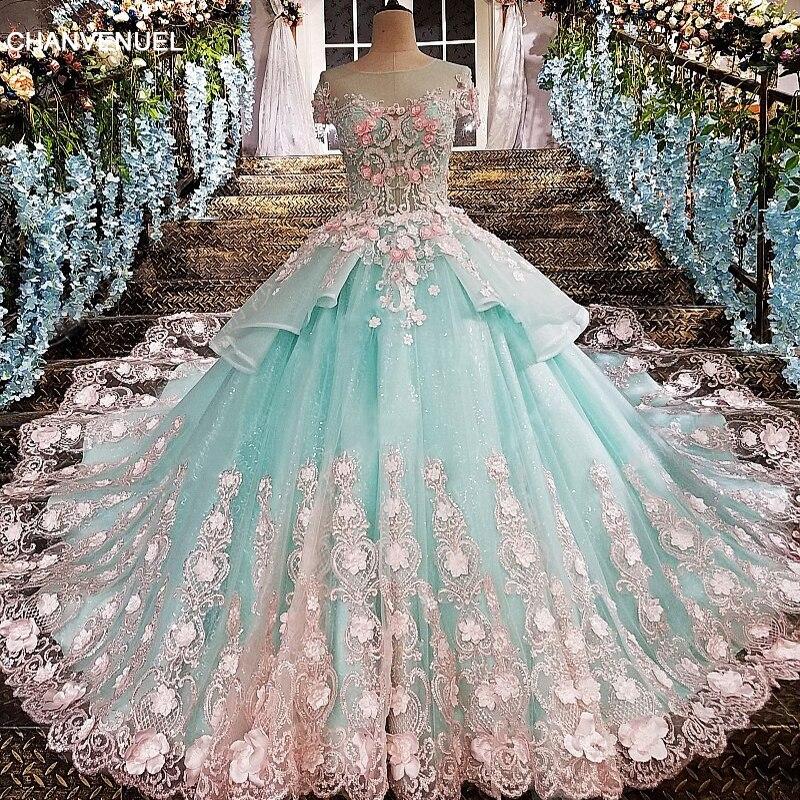 LS00173 robe de soirée voir à travers le dos fleurs vert appliques dentelle et 3D fleurs o-cou étage allongé robes de festa organza
