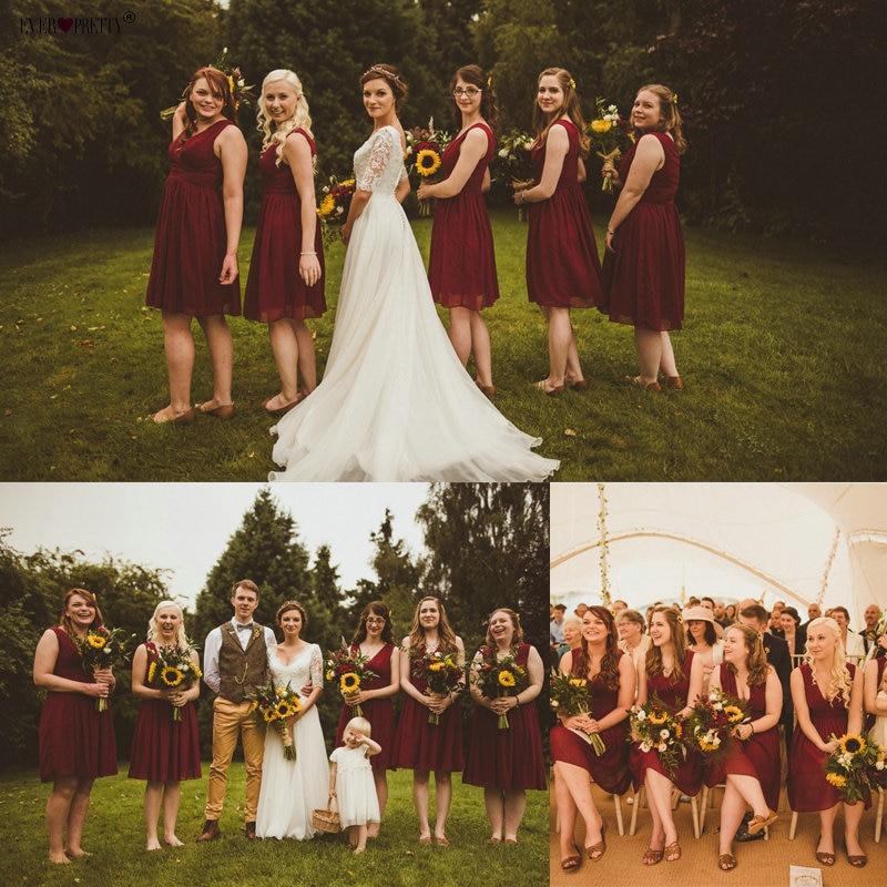 Bridesmaid     Dresses   EP03989 Ever Pretty Double V-neck White Short Fashion Little White   Dresses   2019 Wedding   Bridesmaid     Dresses