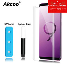 Akcoo S9 Plus screen protector with UV Liquid adhesive for Samsung Note 8 Note 9 S8 Plus S6 S7 edge full glue glass screen film(China)