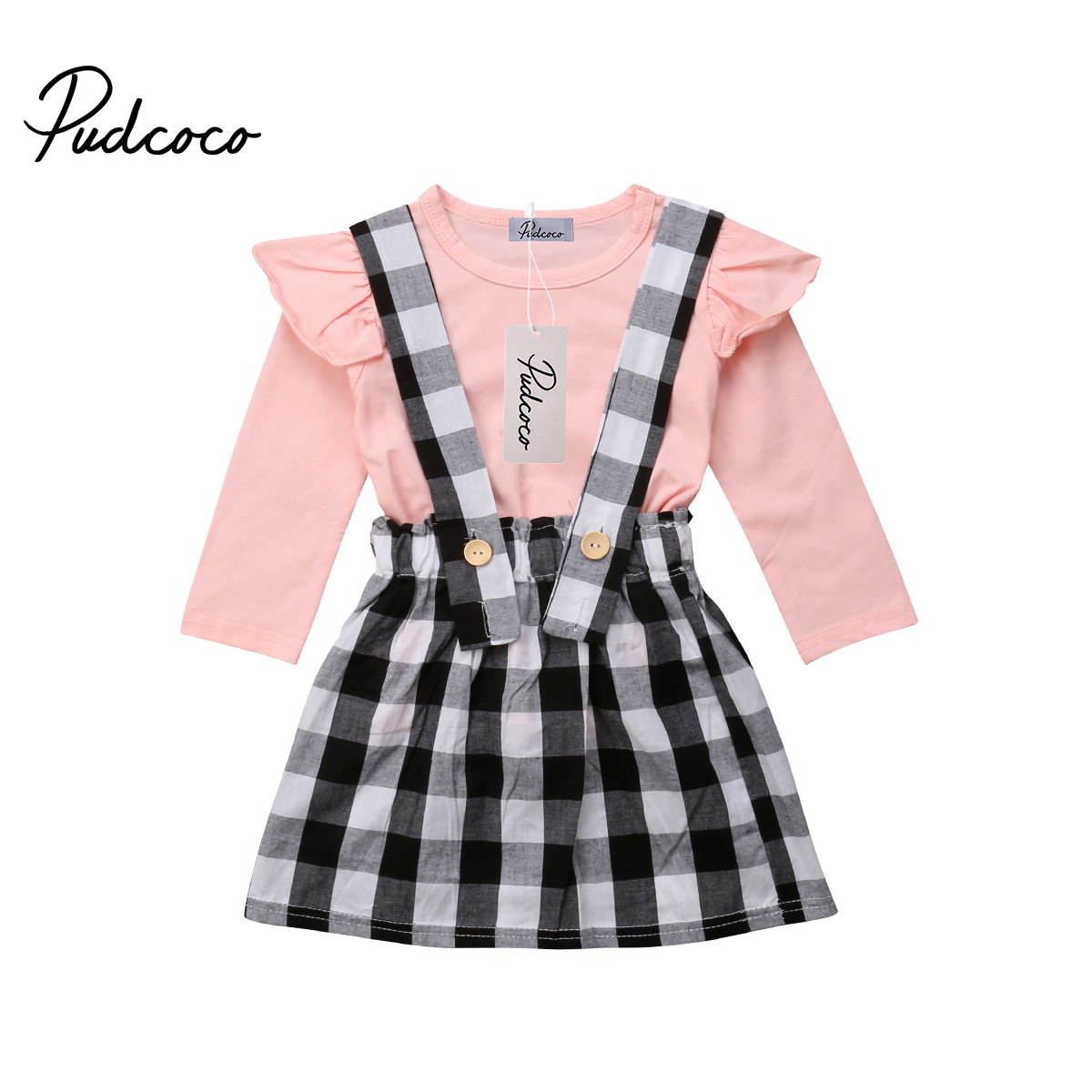 Clothing Sets Mother & Kids Steady Autumn New Kids Baby Girl Clothes Set Toddler Kids Girls Long Sleeve Pink T-shirt Top Plaid Strap Skirt 2pcs Casual Outfits Suit Reasonable Price