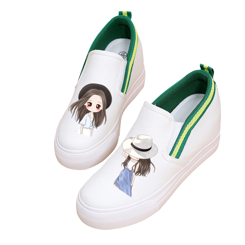2019 Korean version of the wild women shoes white low to help thickening inside the graffiti a pedal lazy flat shoes 302019 Korean version of the wild women shoes white low to help thickening inside the graffiti a pedal lazy flat shoes 30