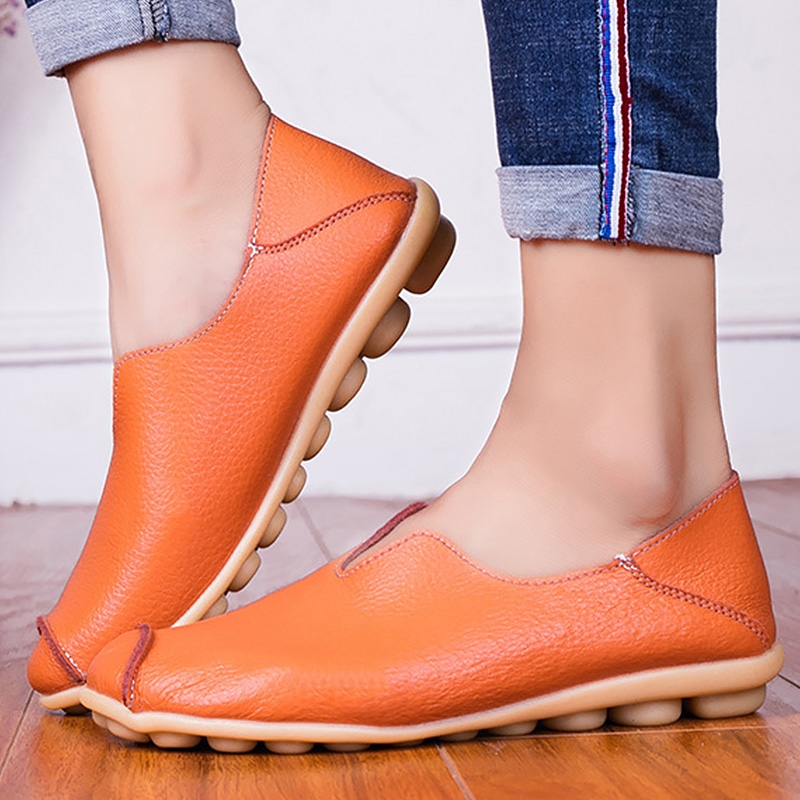 Boat shoes for women Large size 4.5-10.5 Genuine leather womens shoes Hard-wearing Soft Flat shoes ladies Spring 1