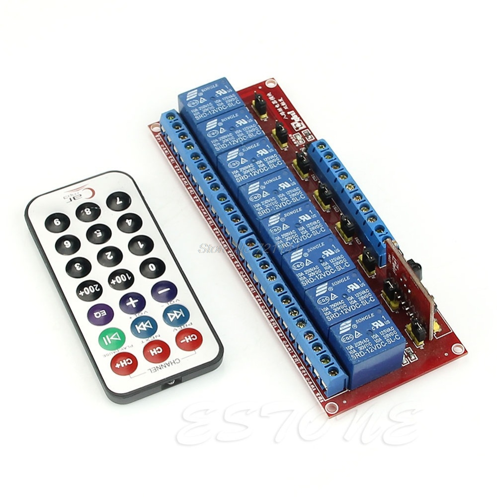 1 PC For Multi-function Infrared Remote Control 8-Channel Relay Module 12V Bidirectional Electronics Stocks Dropship