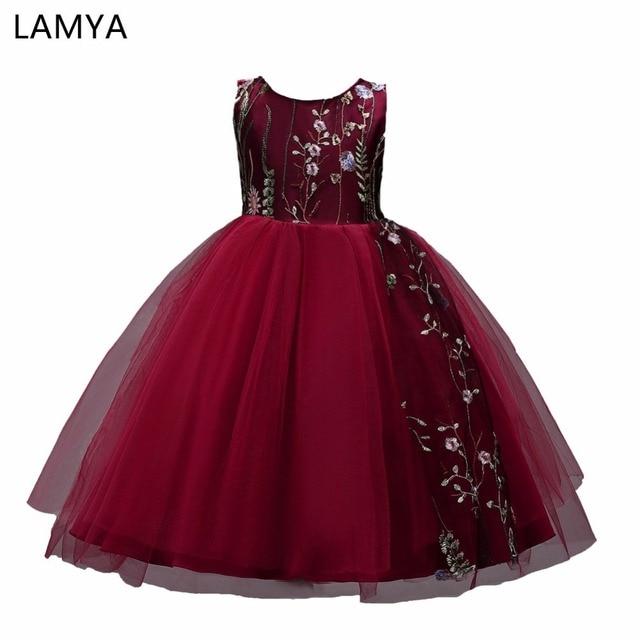 LAMYA Flower Girl Vestidos Para Casamentos Menina Vestido de Festa de Aniversário Da Princesa Vestido Bordado Crianças vestido de festa de carnaval