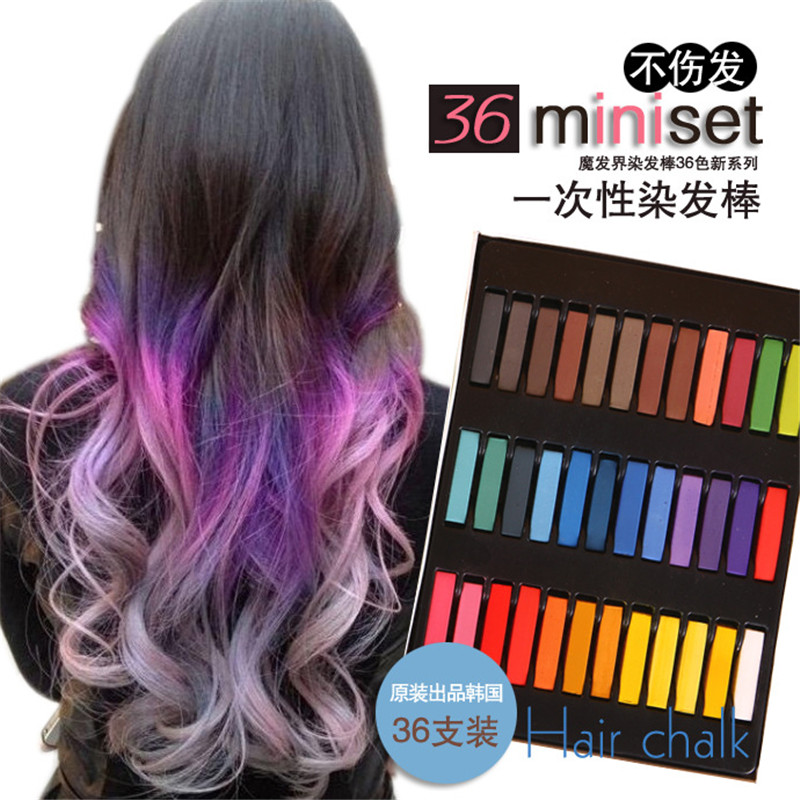 vente chaude 36 couleurs cheveux mourir craiestylo facile colorant temporaire couleurs non toxique - Coloration Cheveux Craie