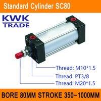 SC80 Стандартный цилиндры воздуха Клапан CE ISO диаметр 80 мм строк 350 мм до 1000 мм Ход Одноместный Род двойного действия пневматический цилиндр