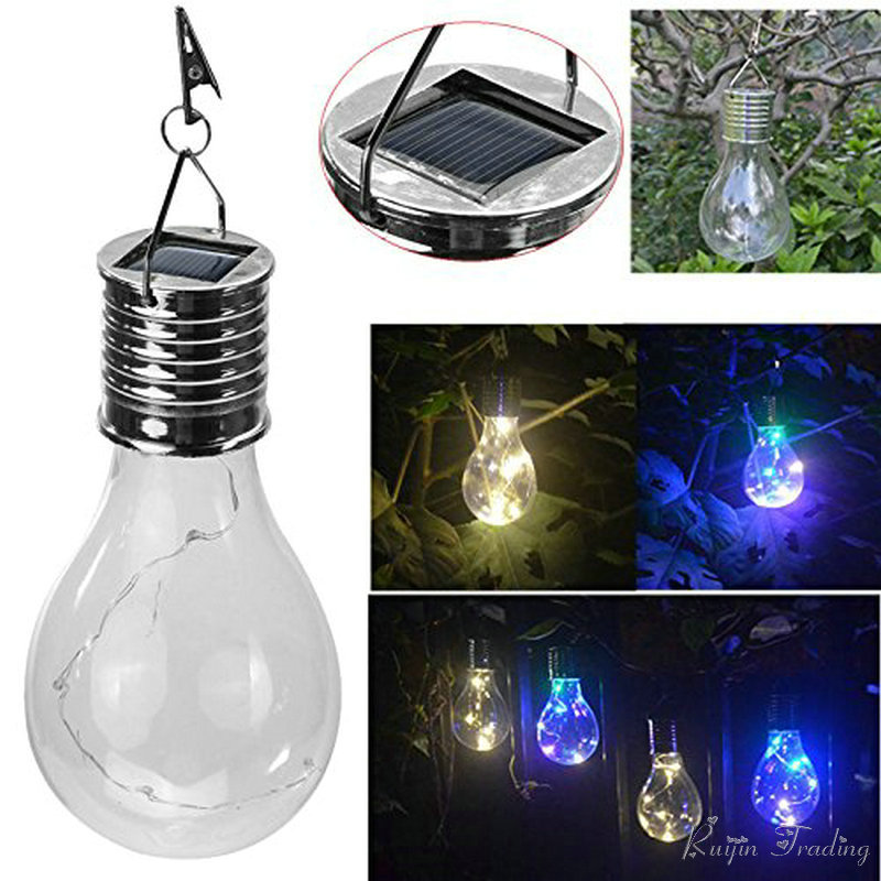 Outdoor Hanging Tree Lights: Hanging Solar LED Light Bulb Wireless Rotatable Waterproof