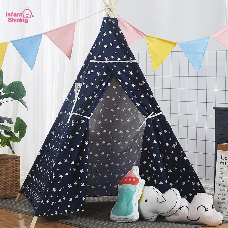 Baby Play House Toy Tent Star Solid Wood Play Tent 120x120x160CM Children Indoor Tent interior tent korea tent children tent saving warm in winter breathable children s tent play house