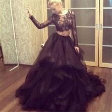 Neue Mode Schwarzen Abendkleider Langen Ärmeln Sexy Appliqued Tüll Zwei Stücke Prom Kleider vestidos de graduacion