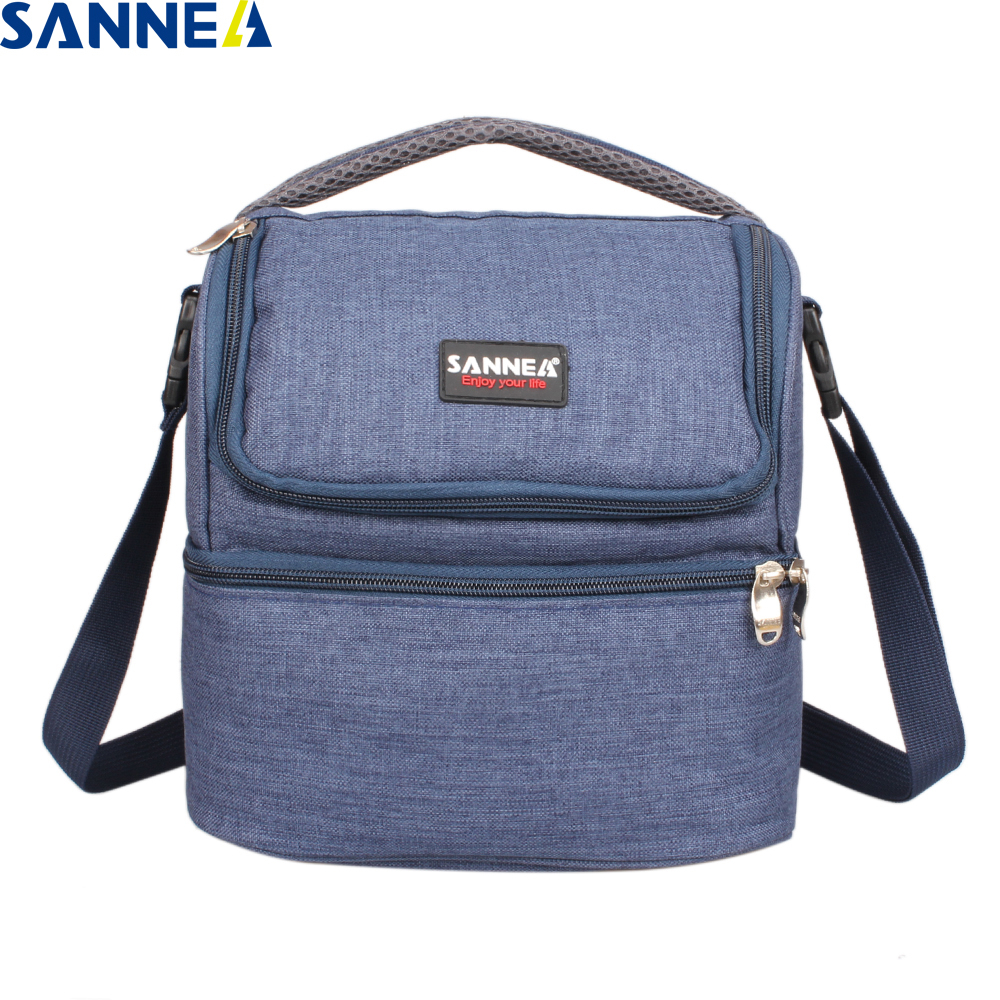 SANNE 7L Double Decker Thermal Insulated Lunch Bag Oxford Polyester Insulated Lunch Bag Work Outdoor Portable Picnic Lunch Bag