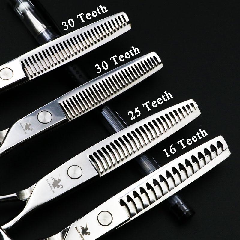 Polegada de Cabeleireiro Tesouras do Cabelo Tesouras do Salão de Beleza de Alta Profissional Conjunto Tesoura Diluindo Barbeiro Qualidade 16 – 25 30 Dentes 6