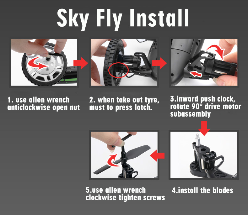 FY602 Flying Car  Quadcopter installation