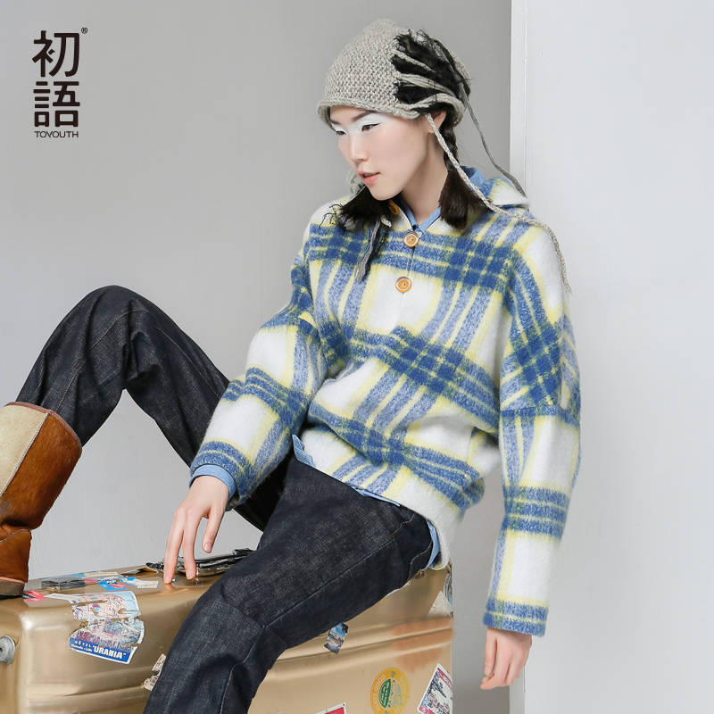 Toyouth Autumn New Wool Pullover Coats font b Tartan b font Batwing Sleeve Fashion Tops