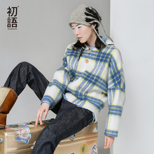 Toyouth Autumn New Wool Pullover Coats Tartan Batwing Sleeve Fashion Tops