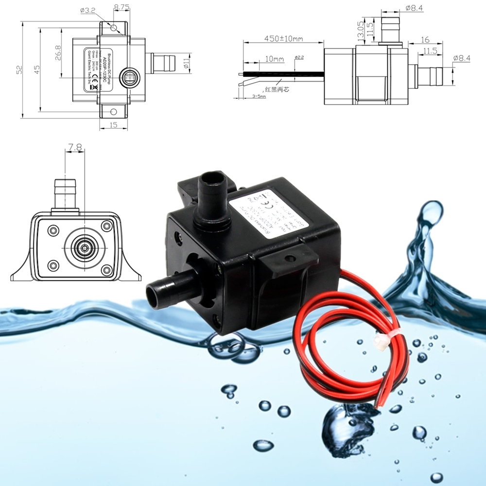 10x 5M 1.2A Mini Submersible Pump Immersible Pump 600L//H Low Noise Water Pump