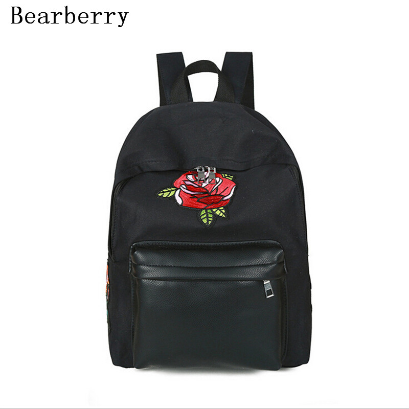 BEARBERRY 2017 leather patchwork canvas backpacks embroidery rose flowers school bags for girls large capacity travel