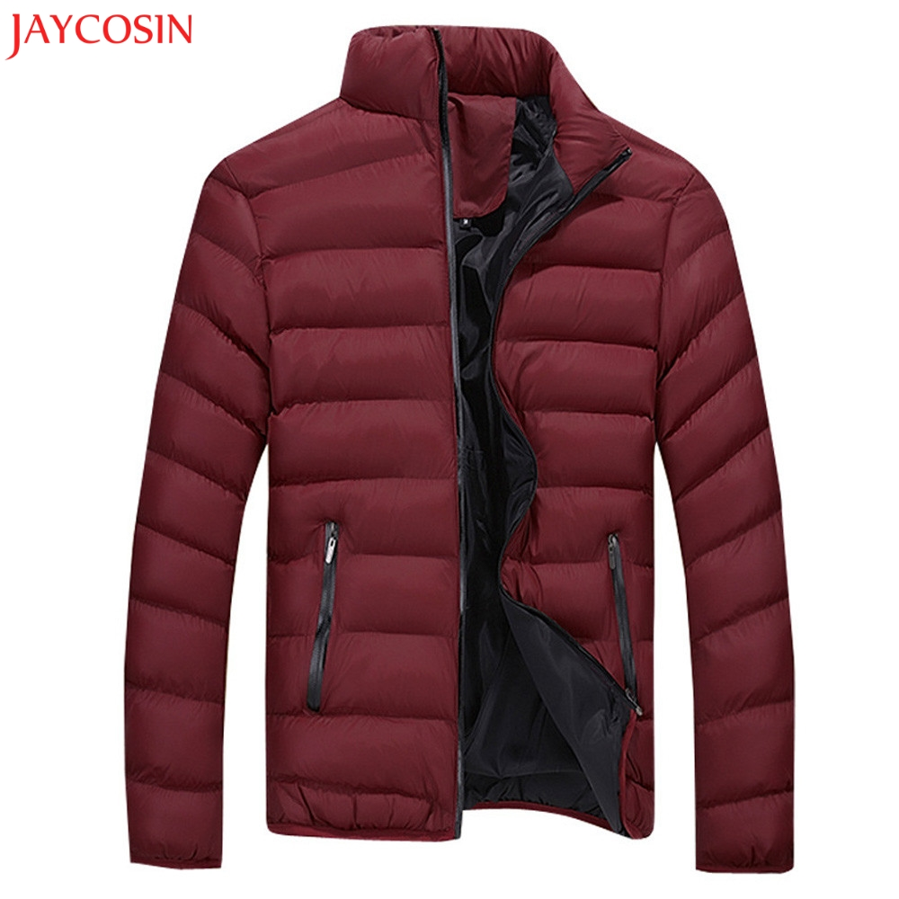 1 PC Men Coat Winter Warm Casual Leisure Zipper Pocket Down Jackets Stand Collar Long Sleeve Fashion Coat Outwear Tops Z1105