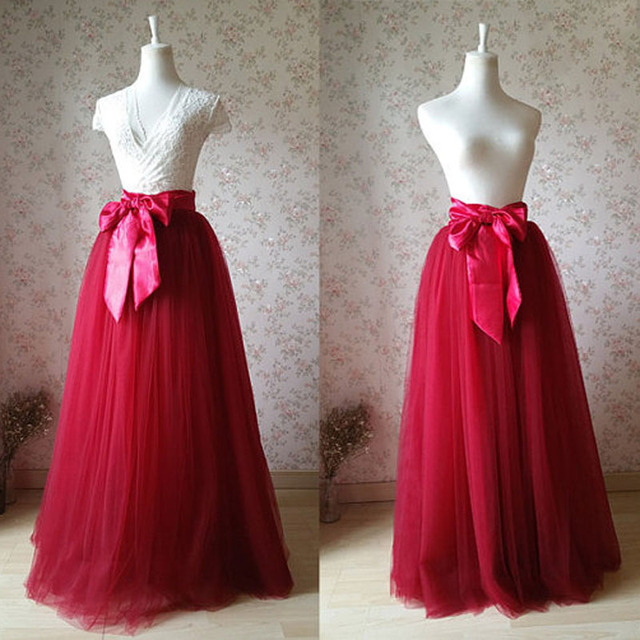 f197a608fbdbc 2017 Maxi Tulle Skirt Plus Size Wine Red Bridal Long Tutu Skirt with Bow  Solid Mesh Elegant Wedding Party Skirt Vintage faldas