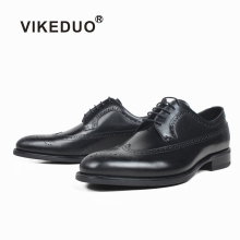 VIKEDUO 2019 New Full Brogue Leather Shoes Mens Plain Black Dress Wedding Office Male Fashion Derby For Men