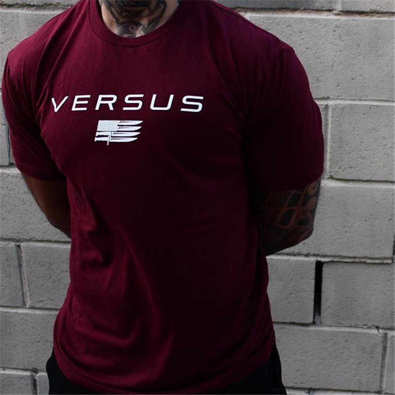 2018 Men Gyms Fitness T-shirt Jogger Workout Cotton t shirts Man Round colla Printed Slim Tee Tops Fashion Casual Brand clothing