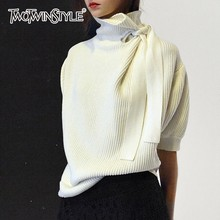 TWOTWINSTYLE Pullovers Female Oversize Turtleneck Lace Up Half Puff Sleeve Knitted Sweater For Women 2018 Autumn Winter Fashion
