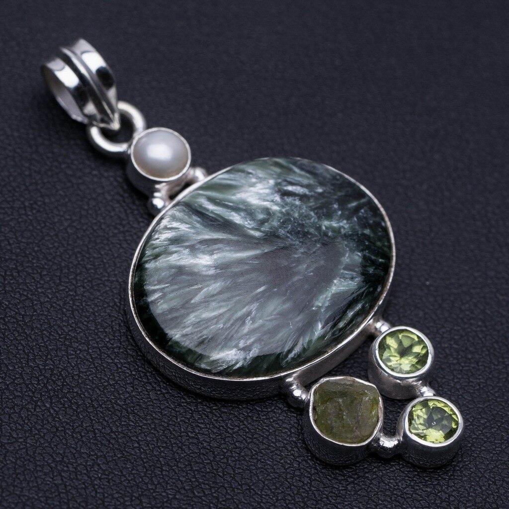 Seraphinite naturelle, perle de rivière, Drusy Druzy et péridot pendentif 925 en argent Sterling 2 1/4