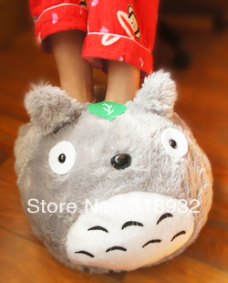 K5 Totoro ultralarge cartoon plush indoor slipper, cotton-padded slipper, keep you warm