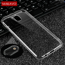 MAKAVO Premium TPU Case For Samsung Galaxy J3 J5 J7 2017 EU Slim Transparent Silicone Soft Back Cover Clear Phone Cases