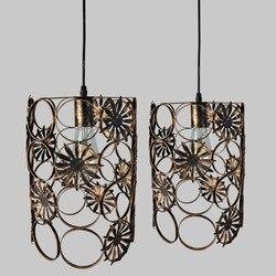 Amerykański styl Vintage rdzy lampa w kształcie wiszącej klatki lampa retro antyczne rdzy Wought żelaza wiszące światło dla Loft restauracja Bar